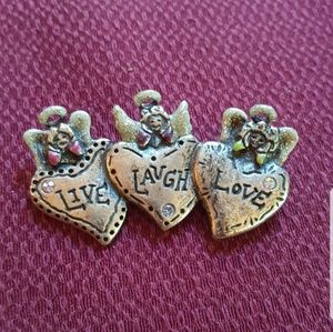 Live, Love, Laugh Angel and hearts brooch